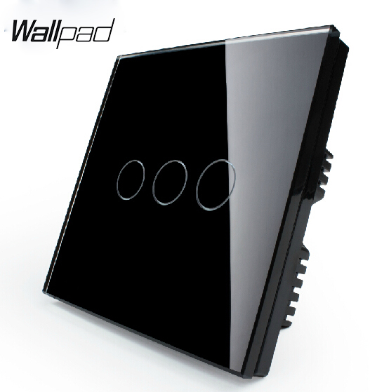 Home automation Black Glass Panel, Wall Switch, 3-gang 2-way, UK Touch Light Switch VL-C303S-62 with LED indicator remote control wall uk standard touch switch black crystal glass panel 3 gang 1 way with led indicator home automation