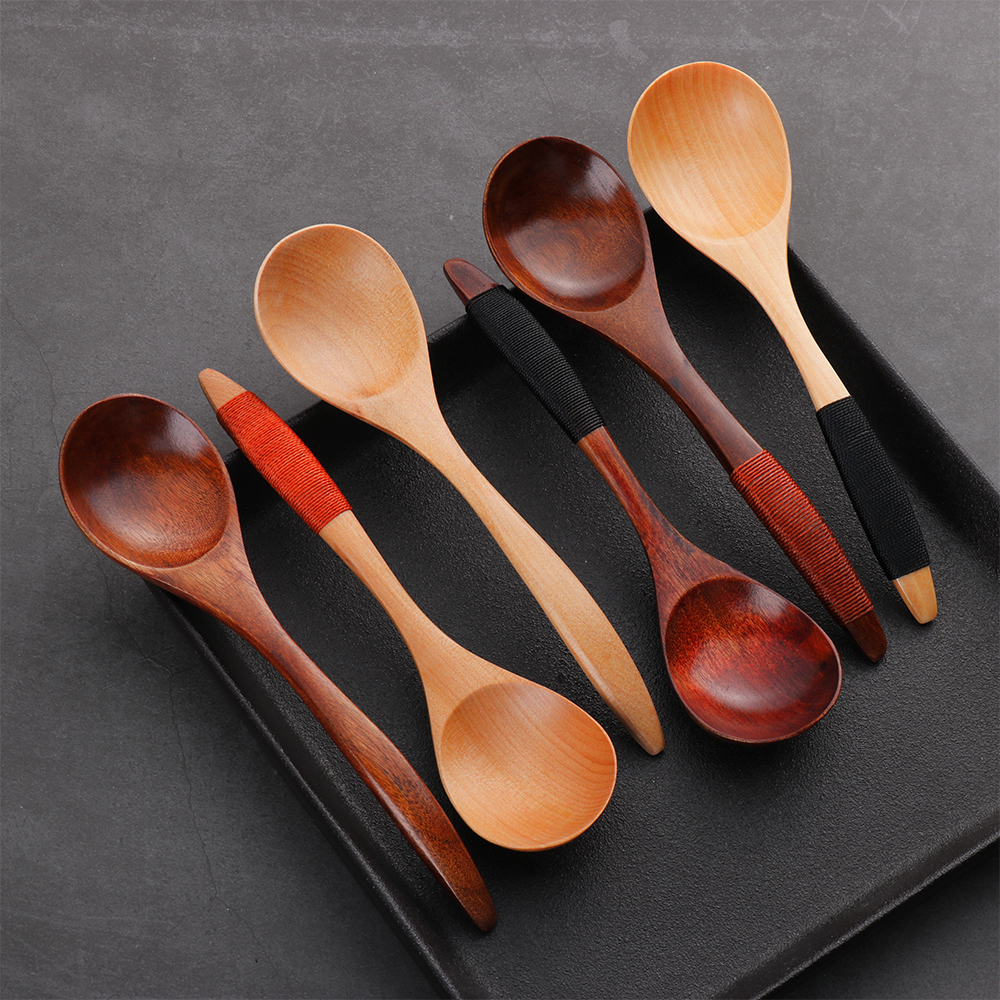 1X Wooden Spoon Cooking Kitchen Utensil Bamboo Catering Coffee Soup Teaspoon