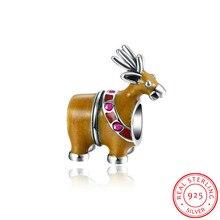 Ciervos de la navidad de Colores Esmalte Encanto Tema Adapta Europea Pandora Pulseras Auténticos 925 Plaza de Plata para La Fabricación de Joyas.