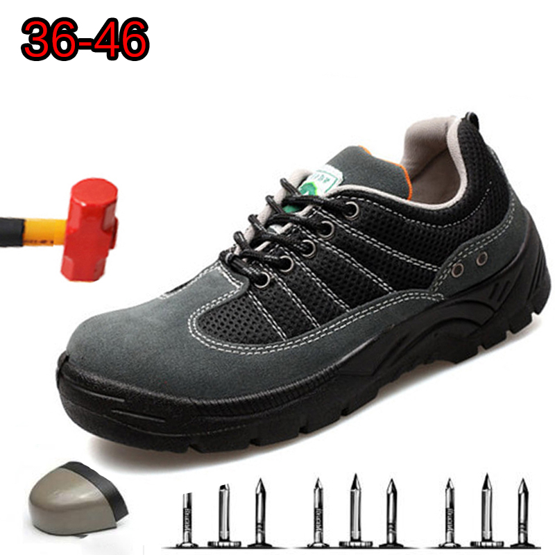 Casual Breathable Hiking Shoes Anti-static Steel Toe Caps anti-mite Puncture Protective Mens Non-slip Safety Work