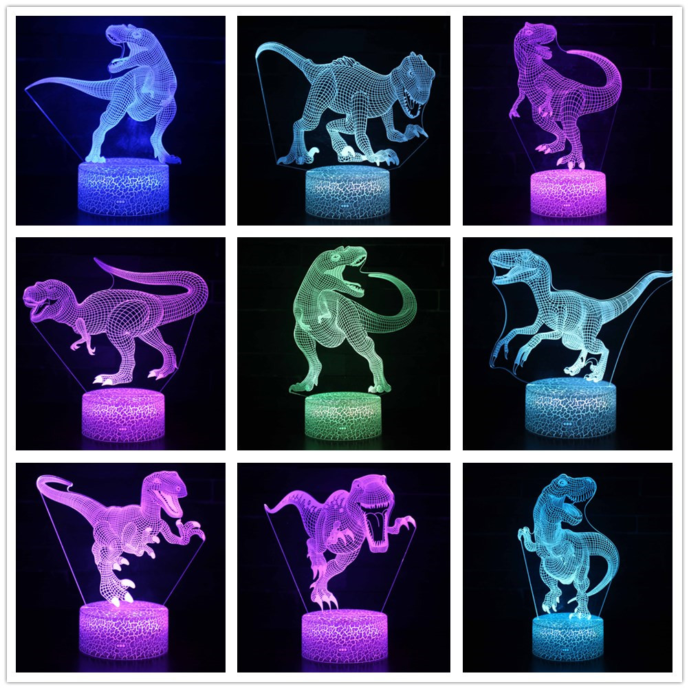 Dinosaur Tyrannosaurus Rex Stegosaurus Spinosaurus Hallorum  Argentinosaurus 7 Color Change 3D Optical Illusion Night Light Lamp