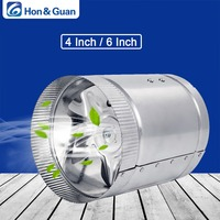Hon&Guan 4'' 100CFM / 6'' 240CFM Air Duct Fan Low Noise Inline Booster Fan For Kitchen Bathroom, For Grow Room Ventilation; 110V
