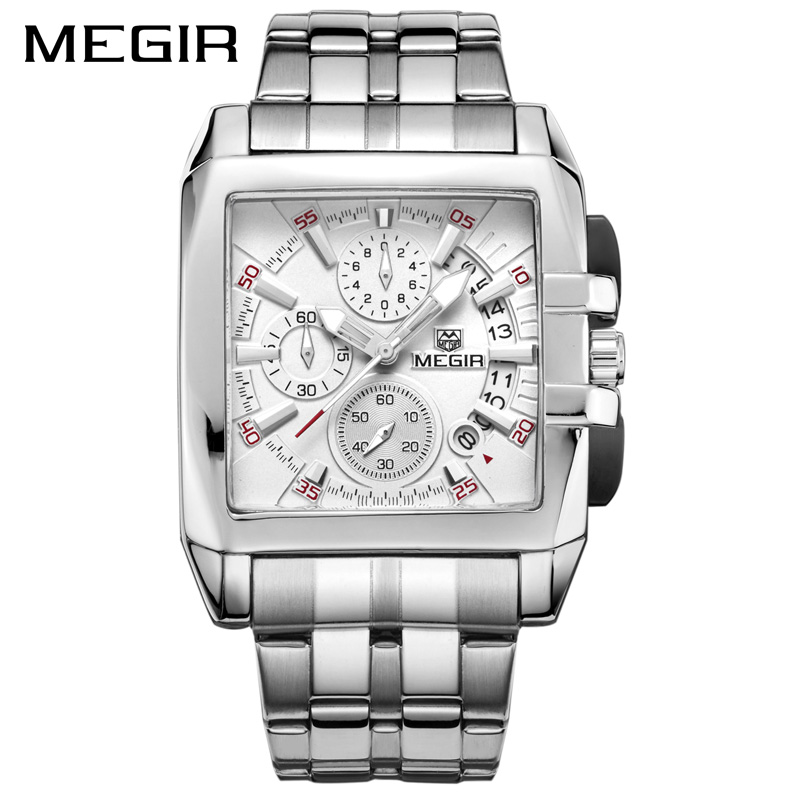 MEGIR Original Luxury Men Watch Stainless Steel Date Mens Quartz Watches Business Big Dial Wrist Watch Relogio Masculino 2018 geneva men s large dial cool quartz stainless steel business wrist watch