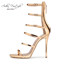 2017 Summer High Heels Gold Sandals Gladiator Sexy Narrow Band Party Shoes For Woman Plus Size