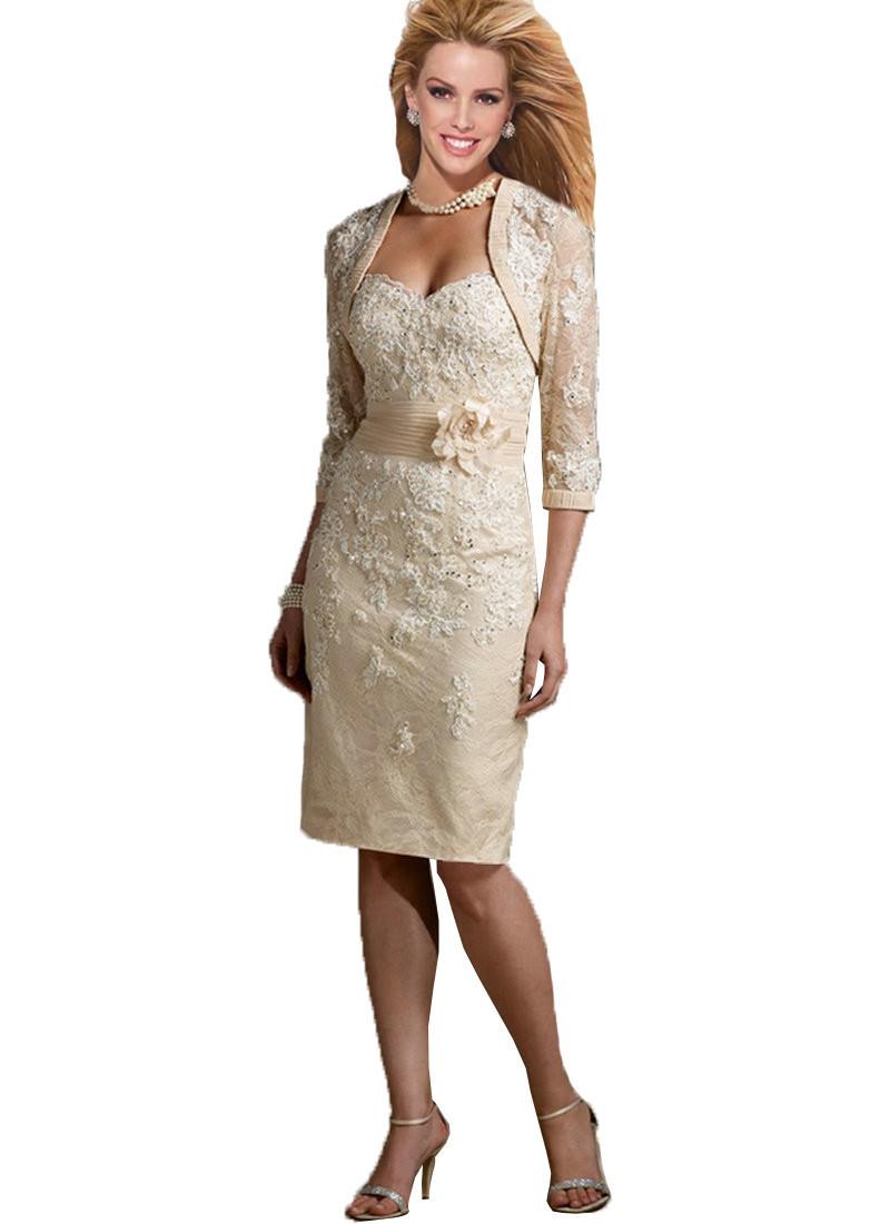 98de1e7ed31 Elegant Plus Size Mother of the Bride Lace Dresses Knee Length ...
