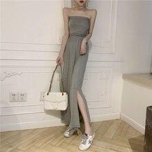 Sexy Women's Dress Sleeveless Maxi Dress Solid Color Tube Top Long Dresses Slim Sundress Female Summer solid color sleeveless bow knot maxi dress