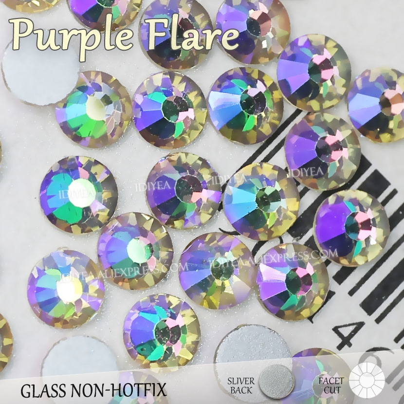 Detail Feedback Questions about Purple Flare SS3 SS30 New Color Glass Rhinestone  nail accessoires for 3d nails manicure design Non hotfix crystal glitters  ... 2a6ca031317c