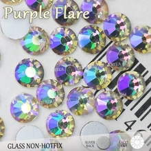 Purple Flare SS3-SS30 New Color Glass Rhinestone nail accessoires for 3d nails manicure design Non hotfix crystal glitters decor