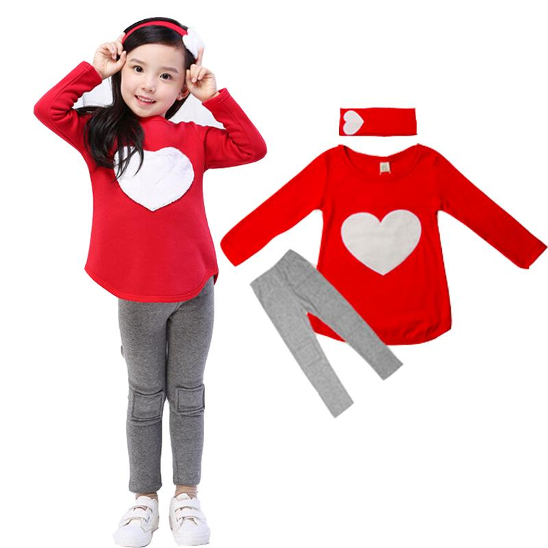 2018 New Hot Sale baby girl clothes Hair Band+Shirts+Pants Children Clothes Set Girls Clothes Suits Pink Red Heart girls Clothes