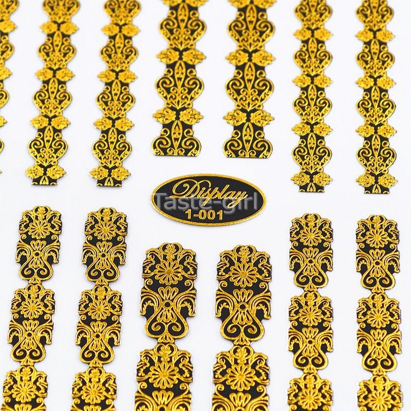 Alta calidad 3d oro (negro) Nail Art Stickers calcomanías Hot - Arte de uñas