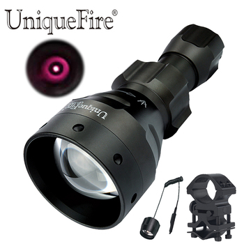 UniqueFire 1504 IR 850nm Led Flashlight Torch 67mm 3 Modes Convex Lens Hunting Lantern Torch with Scope Mount,Remote Tail Switch