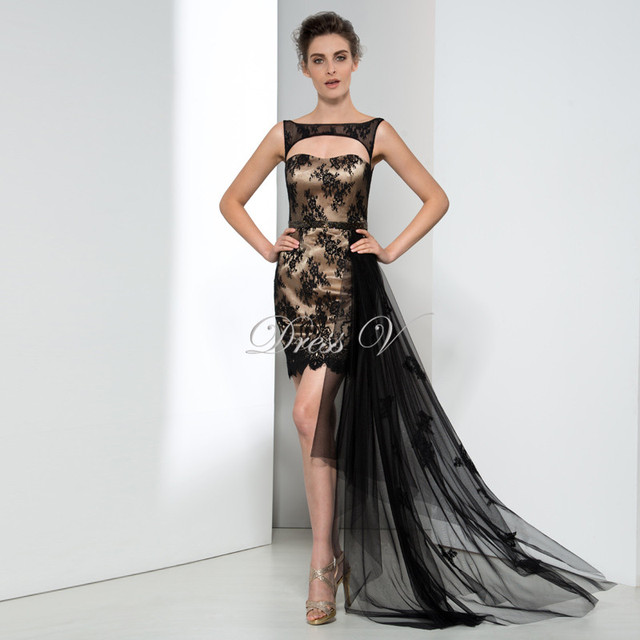 Plus Size Black Lace High Low Designer Evening Dresses Short ...