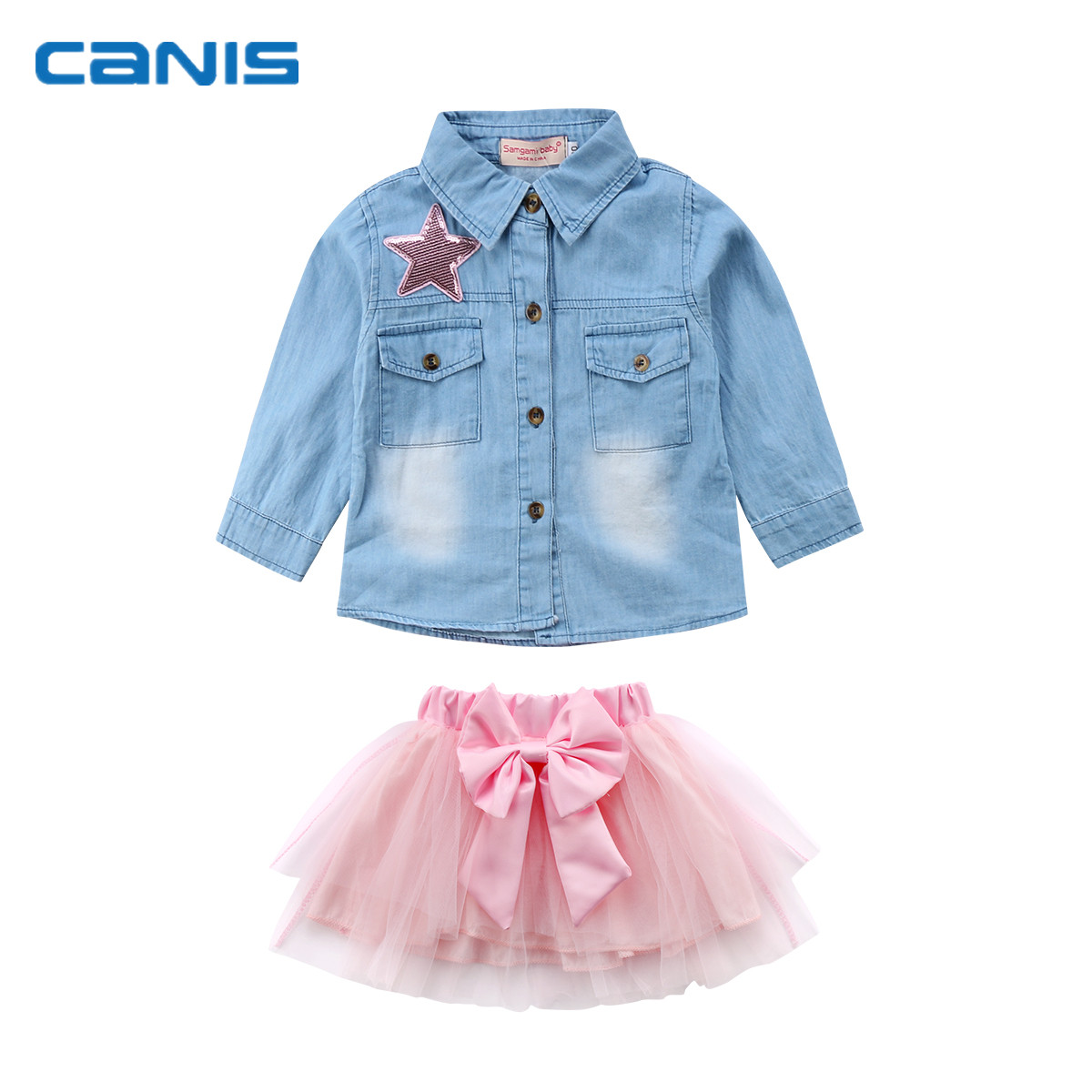 2018 Brand New Toddler Infant Child Kids Baby Girl Outfit Clothes Jeans Denim Shirt+ Bow Tutu Tulle Skirt 2Pcs Sets Clothes 1-6T 2pcs children outfit clothes kids baby girl off shoulder cotton ruffled sleeve tops striped t shirt blue denim jeans sunsuit set