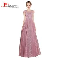 Bohemian 2017 Vintage Princess Sexy Long Pink Sheer Lace Embroidery Amazing Cheap Prom Dresses Evening Gown LIYATT