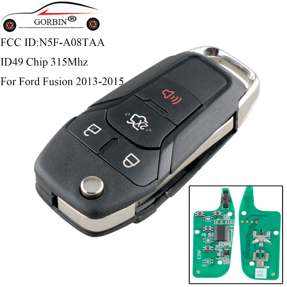 GORBIN 4Buttons Remote Car <font><b>key</b></font> For <font><b>Ford</b></font> N5F-A08TAA 315Mhz 49 Chip For <font><b>Ford</b></font> <font><b>Fusion</b></font> 2013 2014 <font><b>2015</b></font> 2016 2017 Smart Flip Car <font><b>keys</b></font> image