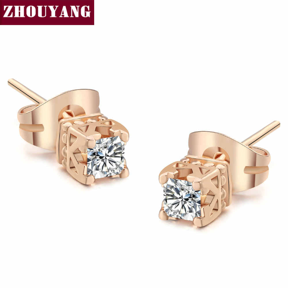 ZHOUYANG Top Quality Elegant Crystal Rose Gold Color Earring Austrian Crystal ZYE448 ZYE449