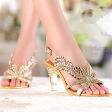 Leather high-heeled sandals fish head high-heeled women rhinestone summer leather shoes