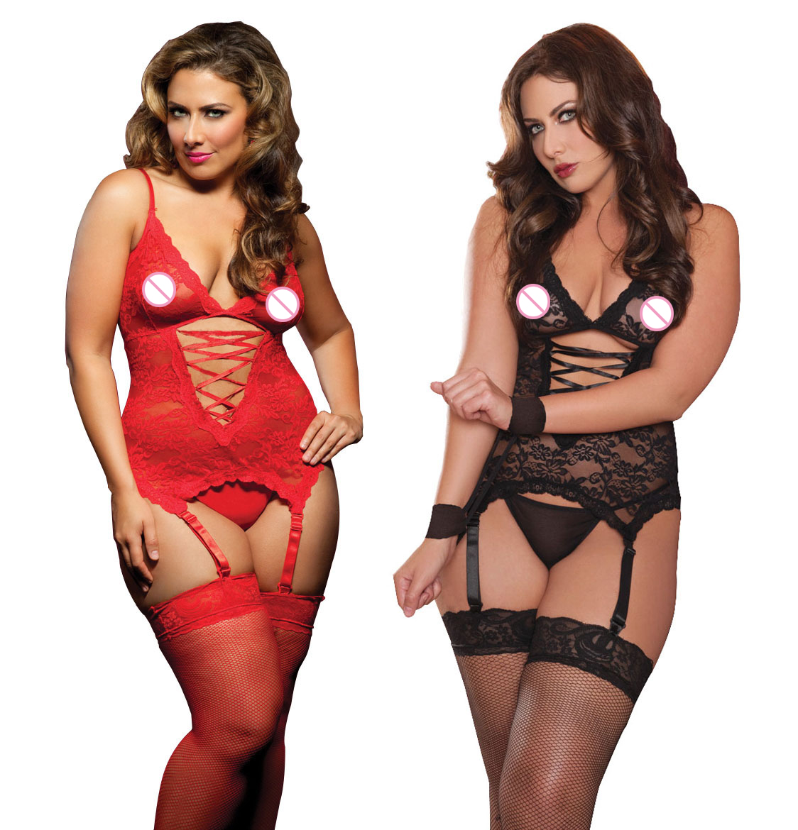 Seductive Lace <font><b>Sex</b></font> <font><b>Nude</b></font> Teddy Lingeries Teddy With Handcuff Women Plus Size Lingerie S-6XL New Tenue Sexy Erotic image