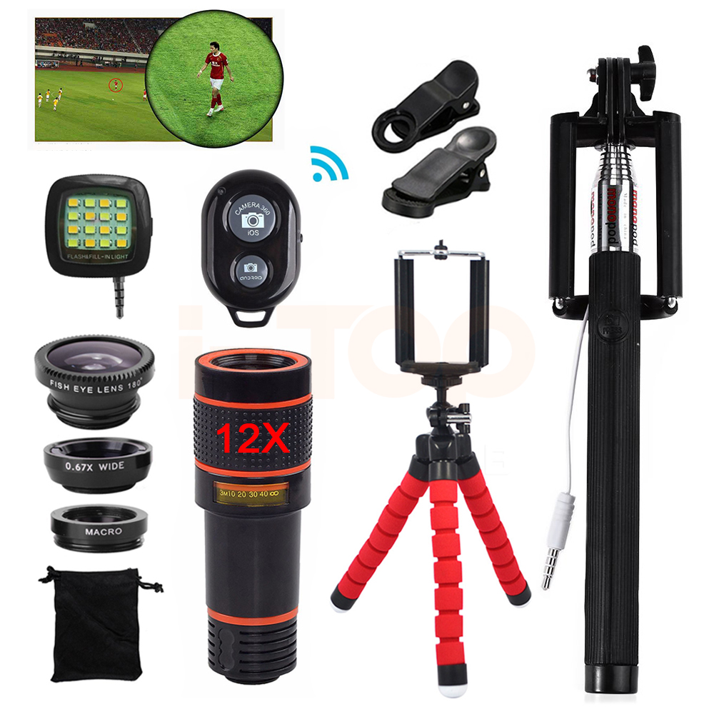 15in1 Phone Camera Lens Kit 12X Telephoto Zoom Lentes Telescope Fish eye Macro Wide Angle lenses For iPhone 8 7 6 5 s Smartphone