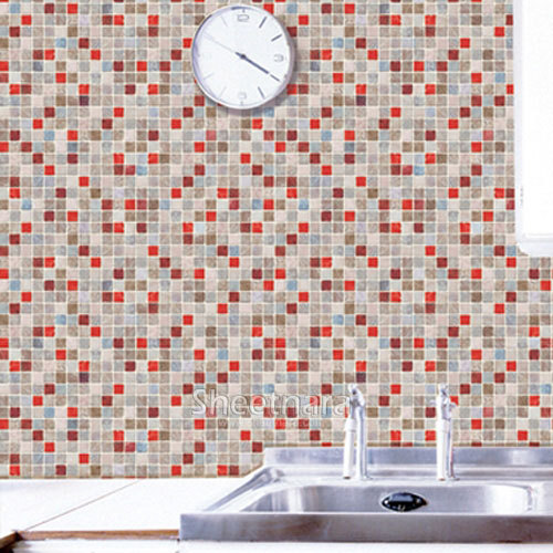 New 1 m wide home decor Bathroom waterproof  wallpaper mosaic wall stickers self-adheisve decorative films PVC auto accessories chameleon sticker 30m 1 52m functional car pvc red copper color stickers home decorative films stickers