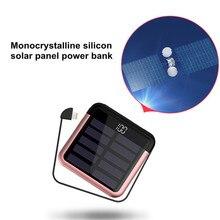 Portable Solar Power 10000mAh Mini Mobile Phone line USB Type-C Mobile PowerDigital Display Battery Charging Package
