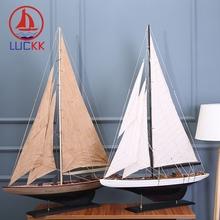 LUCKK 100 CM American DIY Model Ships Home Interior 2 Color Vintage Wood Decoration Crafts Sea Style Toys Sailing