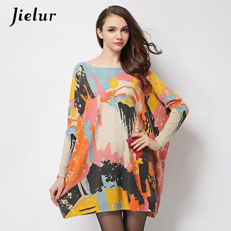 bceddb871360 Podzimní zimní New Street Fashion Pletené nadměrné svetr Batwing ...