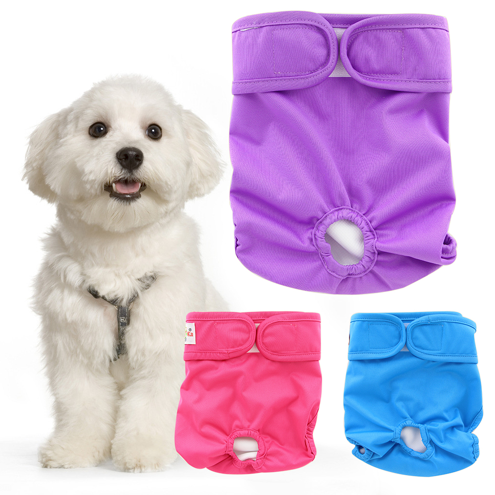 Ohbabyka Pet Dog Diaper Sanitary Physiological Pants S-L Washable Female Dog Panties Menstruation Underwear Doggie Nappies Cover