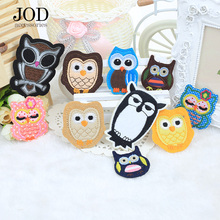 JOD Cartoon Small Owl Embroidery Iron on Cloth Patch for Baby Clothes Sticker Down Jacket Bag Hat Decals Sewing Stickers
