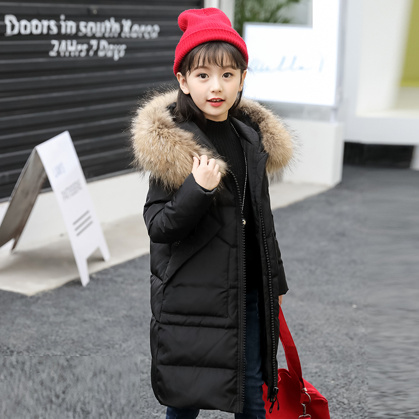 XYF8881 Boys Girls Winter Down Jackets Kids Big Zipper Thicken Winter Jacket Coat Warm Outerwear Long Coat 85% White Duck Down