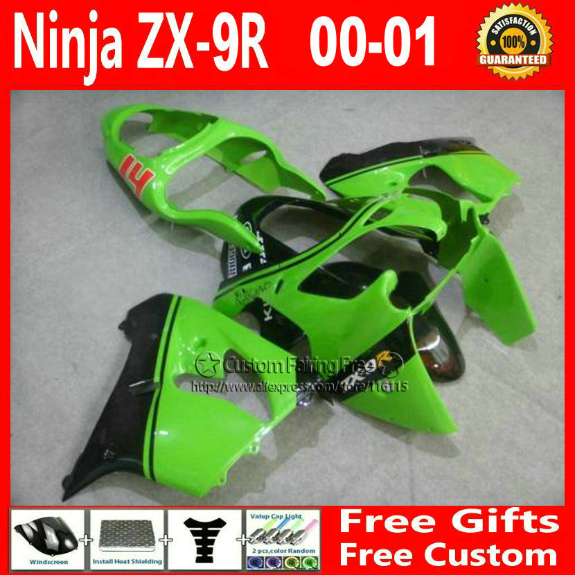 High quality motorcycle body parts for Kawasaki fairing kits ZX9R 2000 2001 ZX 9R 00 01 green Ninja customize bodykit+7Gifts compression mold bodykit for kawasaki fairing kits zx9r 2000 2001 zx 9r 00 01 ninja customize green purple body parts 7gifts