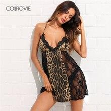 Colrovie открытой спиной leopard кружевной вставкой ночь платье 2018 новый черный Лето Без Рукавов Для женщин Ночная рубашка глубоким v-образным вырезом Sexy пижамы
