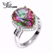 Luxurious 13ct Real Rainbow Fireplace Mystic Gem Stone Topaz Pure Strong 925 Sterling Silver Ring For Ladies Pear Promotion Model New