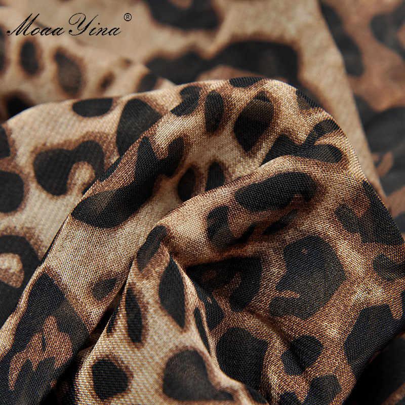 MoaaYina модное дизайнерское подиумное платье Весна Лето Женское платье плиссированные оборки леопардовые тонкие сексуальные макси платья