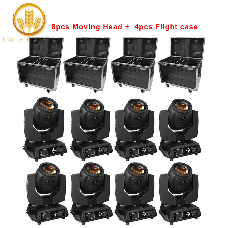 IMRELAX 8pcs Double Prism Sharpy Beam Professional Moving Head Light with Flight Case Package G clamp