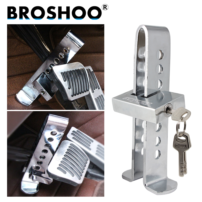BROSHOO Auto Accessories 2017 Hot Sale Car Brake Clutch Pedal Lock Stainless Steel Anti-Theft Strong Security Lock Car Styling