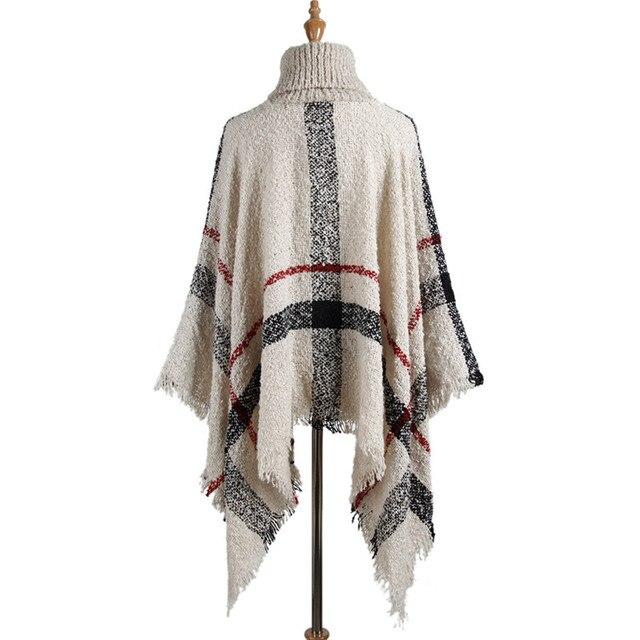 Hiawatha 2018 Long Turtleneck Cloak Knit Women Loose Plus Size Pullover Fashion Tassel Sweater M110 2