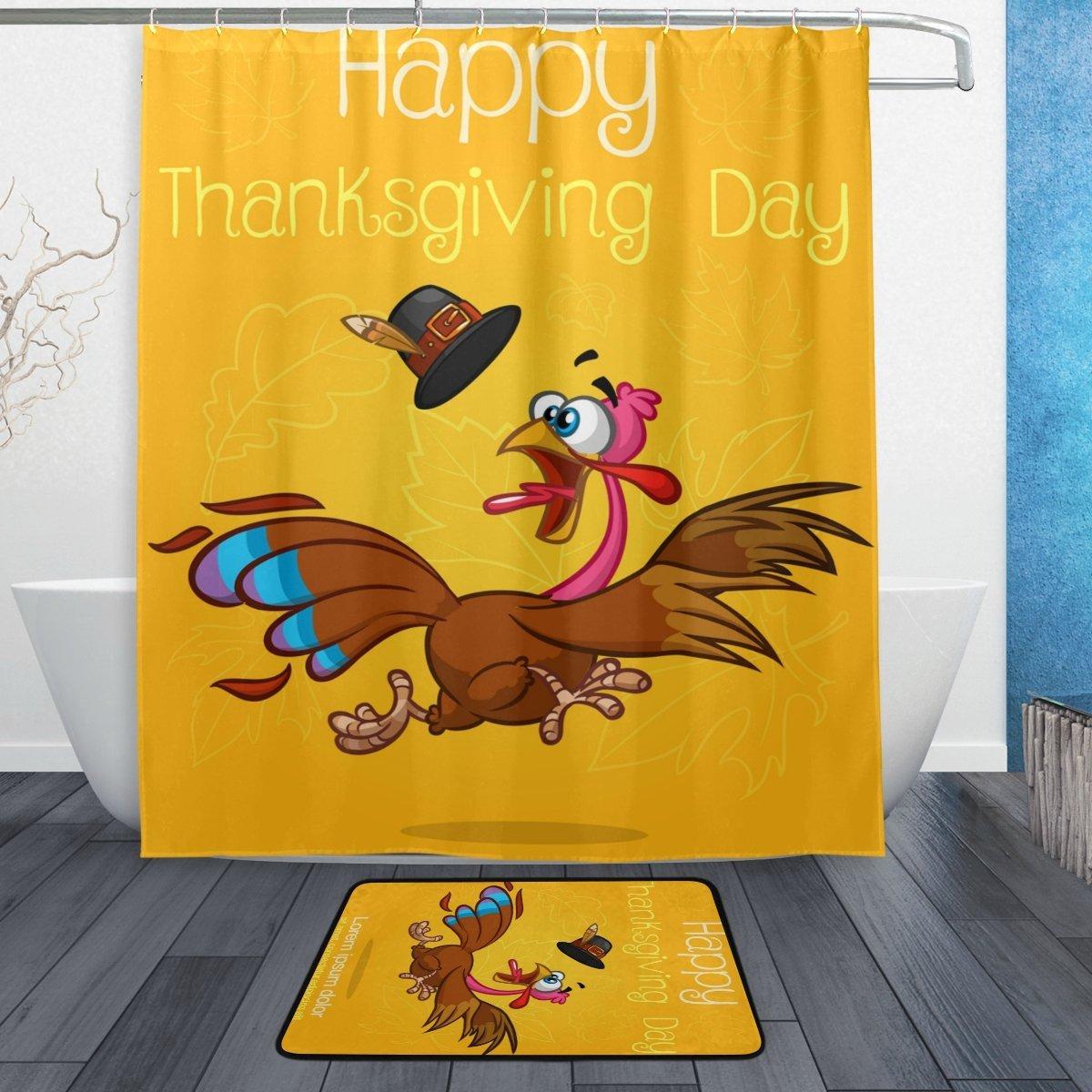 Happy Thanksgiving Shower Curtain And Mat Set Turkey Leaves Waterproof Fabric Bathroom