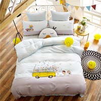 4pcs luxury Egypt Cotton cartoon Embroidered Bedding set Childhood days Duvet Cover set bed Sheet pillowcases Queen King size