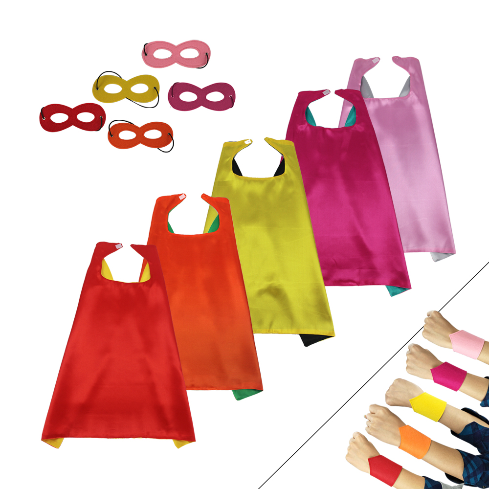 Special L 27* girls dress up cape mask bracelets costume for kid Christmas gifts satin fabric toys girl cape superhero