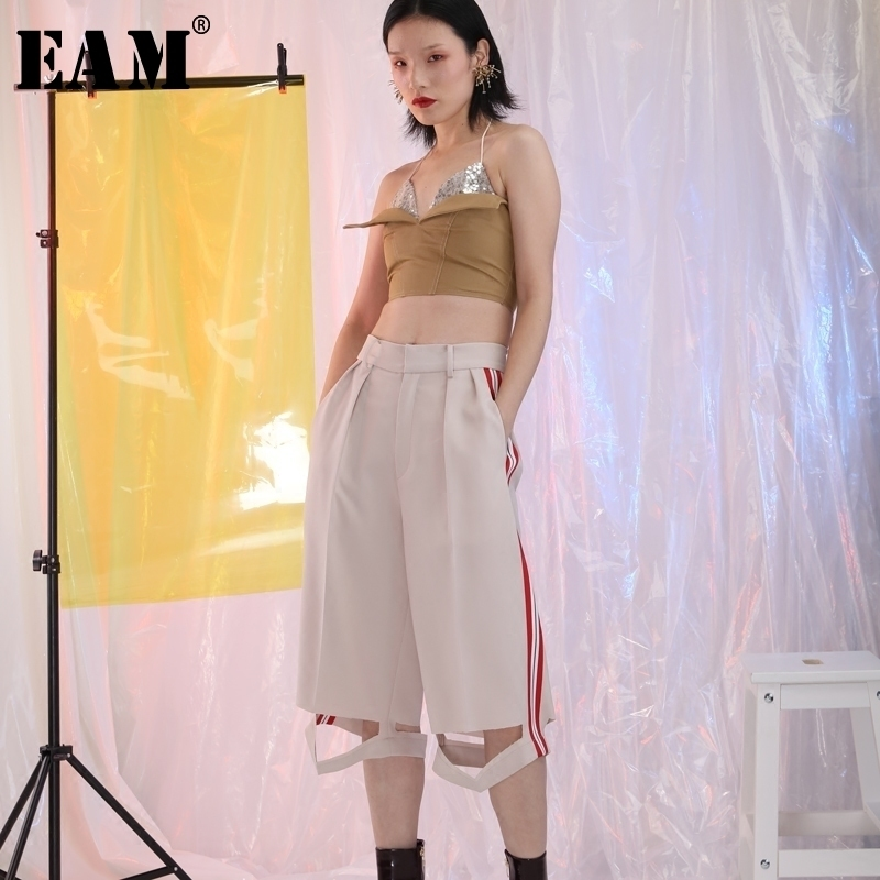 [EAM] 2018 Autumn New Fashon Cut Hollow Out Bottom Side Striped Loose Trendy Wide Leg Pants Women Calf-Length Pants YC35100