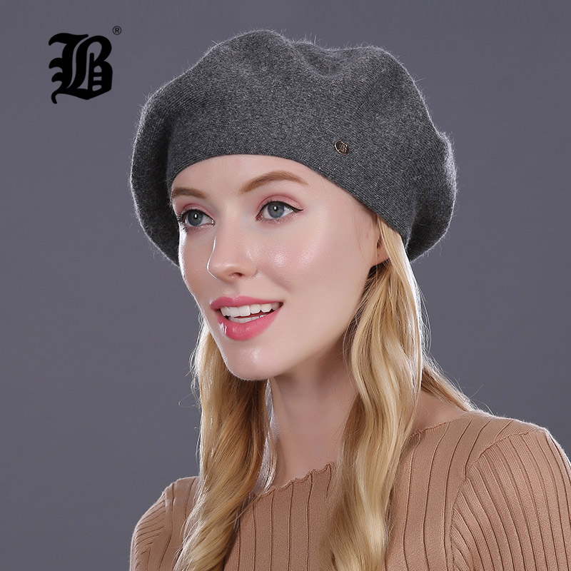 [FLB] Lady Berets Hat For Winter Knitted Cotton Hats With Lining 2017 New Top Quality Beret Cap Hat For Women Beret