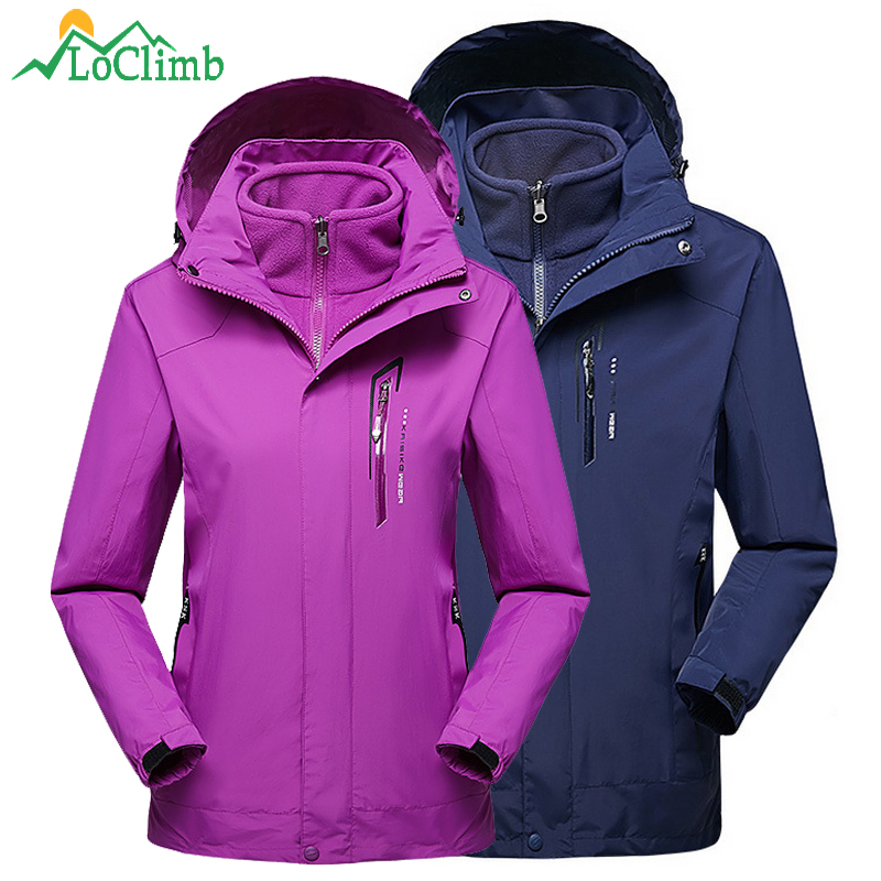 все цены на LoClimb 3 In 1 Outdoor Ski Jackets For Men Women Winter Fleece Coat Trekking Sport Windbreaker Black Camping Hiking Jacket AM256