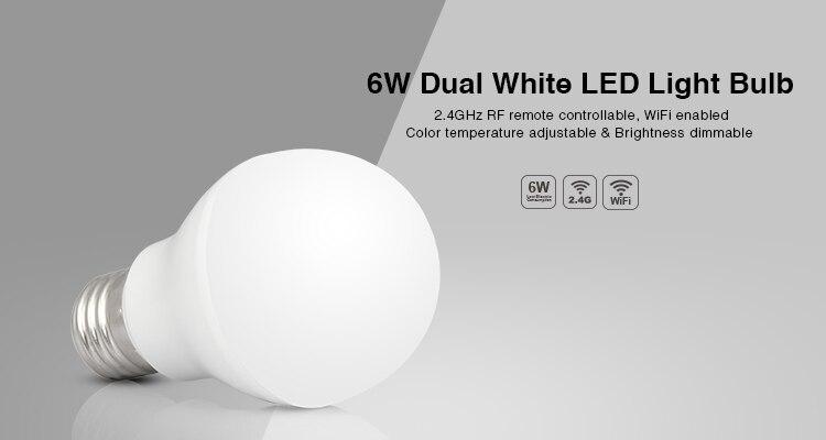 1 unids/lote 6 W E27 RF 2,4 GHz wifi luz led Dual blanco lámpara led inalámbrico iphone led iluminación para el teléfono ipad AC85V-265V
