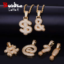 Gold Finish Iced Custom Bubble Question Mark Dollar Sign Pendants & Necklaces Charm Cubic Zircon Men Women Hip Hop Jewelry(China)