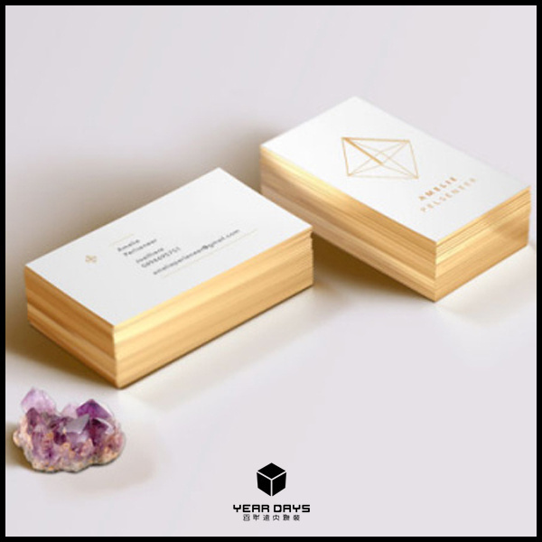 Luxury Customized Golden Edge Paper Business Card Gold Stamping