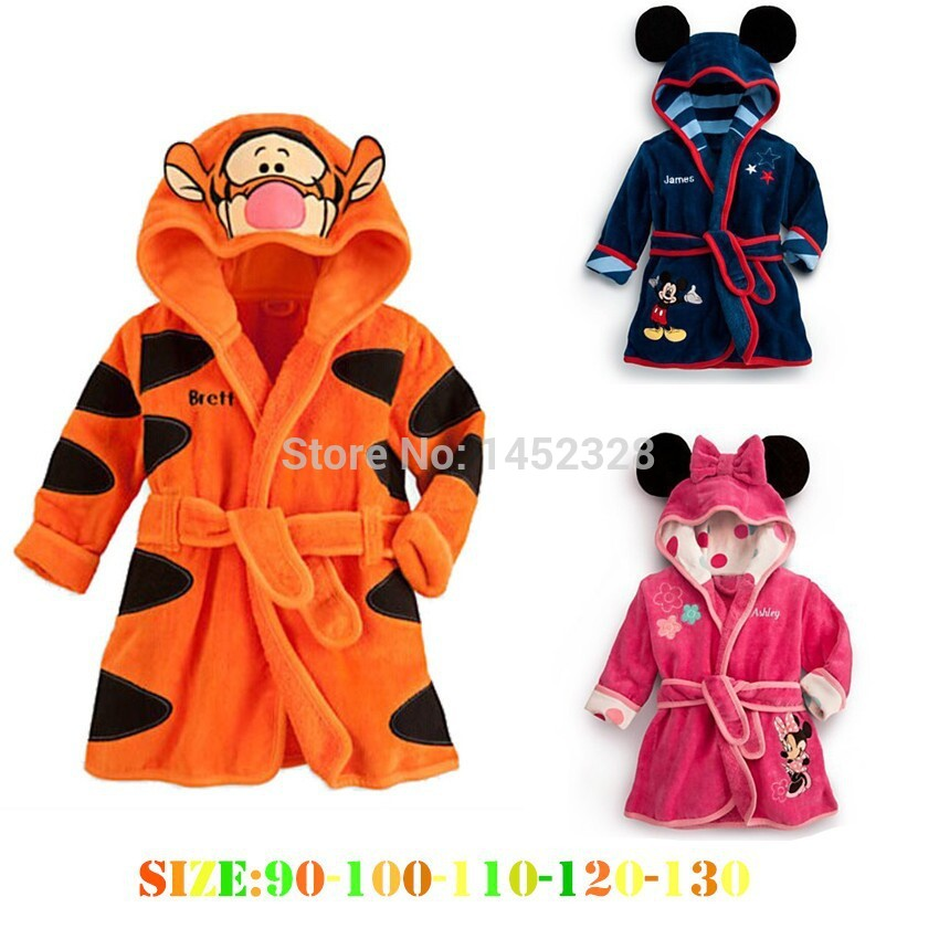 ФОТО retail free shipping 1set 2014 new baby girl/boy cartoon Pajamas Micky Minnie Mouse Bathrobes Robe kids soft Bath towel 3 color
