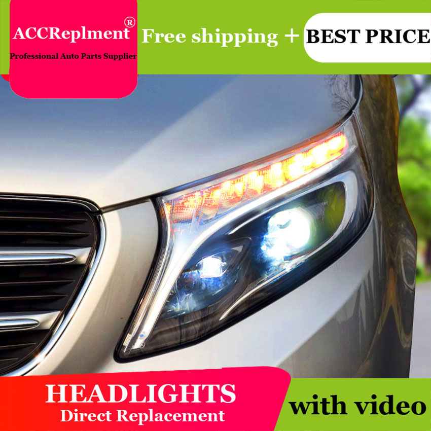 car styling For BENZ Vito headlights angel eyes 2016 For BENZ Vito LED light bar Q5