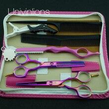 5.5 «univinlions Rosa Titanium corte peluquería tijeras profesionales de pelo tijeras peluquería adelgazamiento Rainbow tijeras