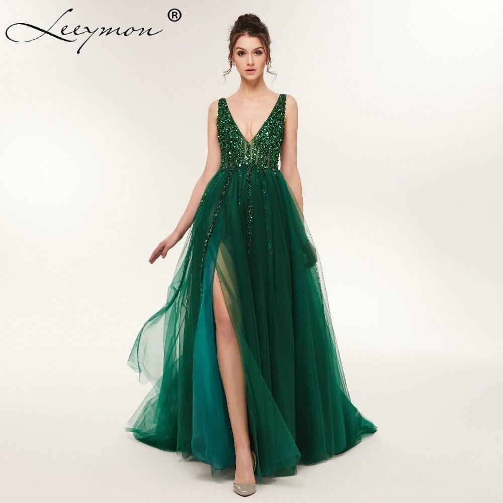 3e249e82e9 Grande taille côté haut fendu vert robe de bal a ligne Tulle longue robe de  soirée perlée pailletée Sexy dos ouvert robes de soirée formelles dans Robes  de ...